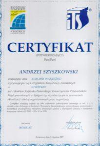 certyfikat potwierdzajacy kompentencje zawodowe